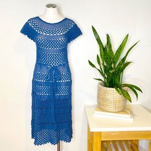 Corey Lynn Calter | Bilberry Crochet Midi Dress in Royal Blue Sz. M